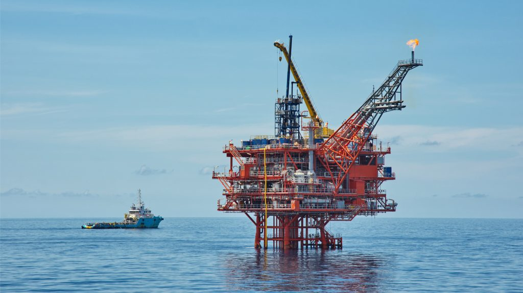An offshore oil drilling machine.