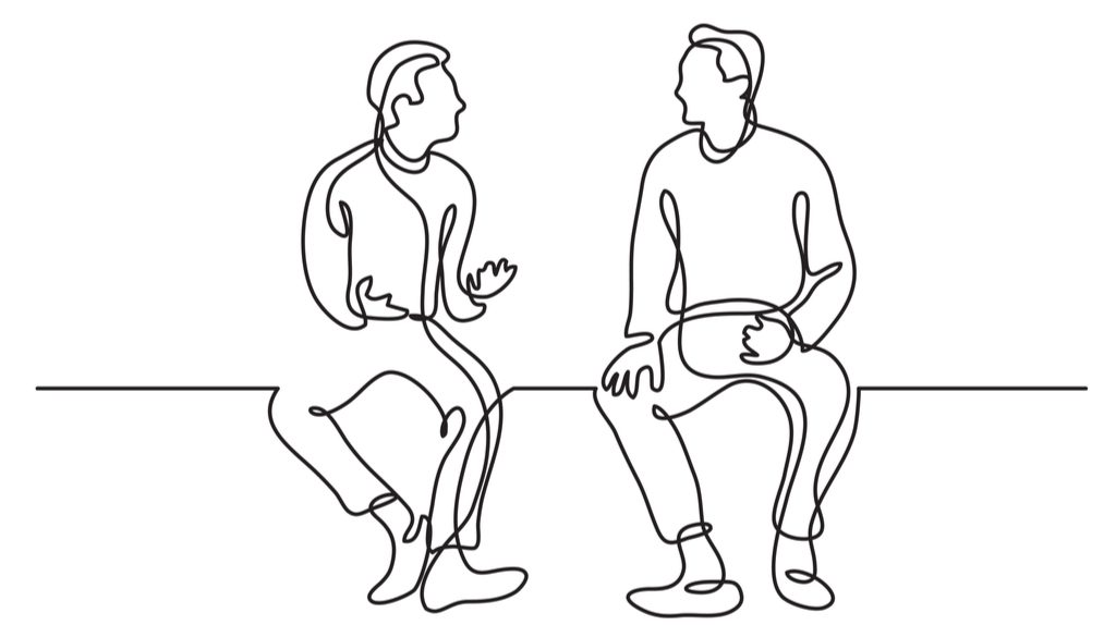 Line drawing of two mean talking to each other.